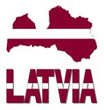 De kaartvlag van Letland en tekstillustratie vector illustratie