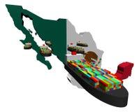 De kaartvlag van Mexico met containerschepen stock illustratie