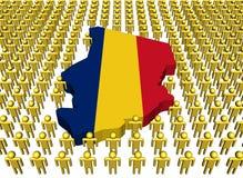 De kaartvlag van Tsjaad met mensen vector illustratie