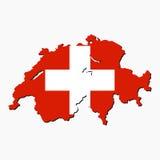 De kaartvlag van Zwitserland Stock Foto