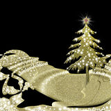 De kaartzwarte en goud van de Kerstmisgroet Royalty-vrije Stock Fotografie