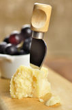 De kaas en de druiven van de parmezaanse kaas op een hakbord stock foto's