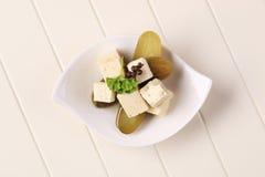 De kaas en de groenten in het zuur van feta Royalty-vrije Stock Afbeeldingen