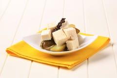 De kaas en de groenten in het zuur van feta Stock Foto