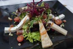 De kaas en de tomaat van de saladegeit Stock Foto's