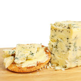 De kaas en het koekje van het Stilton Royalty-vrije Stock Foto's