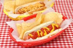 De Kaas van de hotdog en van de Spaanse peper met Chips Royalty-vrije Stock Foto