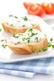 De kaas van het kruid op baguette Royalty-vrije Stock Foto's