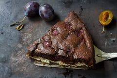 De kaastaart van de chocoladebrownie op donkere achtergrond Selectieve nadruk Royalty-vrije Stock Foto