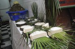 De kaasvertoning van Ricotta Stock Afbeeldingen