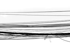 De kabel verwarde draad, van het de draad abstracte Silhouet van de Hoogspanningskabel de verwarde zwarte witte achtergrond royalty-vrije stock fotografie