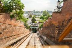 De kabelbaan van de het kasteelheuvel van Boedapest hongarije Stock Afbeeldingen