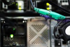 De kabellan van de netwerkhub Dichte omhooggaand Stock Foto