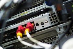 De kabellan van de netwerkhub Dichte omhooggaand Stock Afbeelding