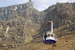 De Kabelwagen neemt toeristen tot de bovenkant van Lijstberg, Cape Town, Zuid-Afrika stock fotografie