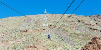 De kabelwagen op het Eiland Tenerife voor het stijgen en desce Royalty-vrije Stock Fotografie