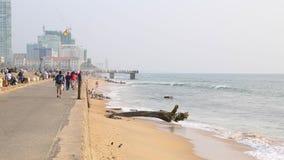 De kade van de Colombo-stad met oceaan stock video