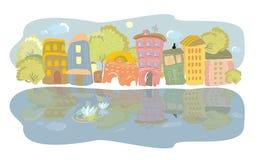 De kade van de stad van de rivier Stock Afbeelding