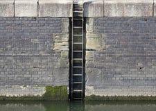 De kademuur en ladder van de jachthaven stock foto's