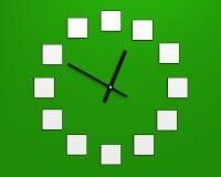 12 de kaders van de ontwerpfoto op de wijzerplaat en horlogehanden 3d samenstelling Stock Foto