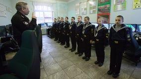 De Kadet Zeeschool van St. Petersburg Kadetten in het klaslokaal royalty-vrije stock foto