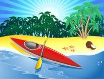 De kajak van de kano op Exotisch Strand Stock Afbeeldingen