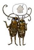 De kakkerlakkenfamilie van het beeldverhaal Royalty-vrije Stock Foto's