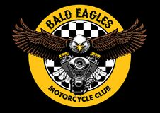 De kale greep van het adelaarskenteken de motorfietsmotor stock illustratie