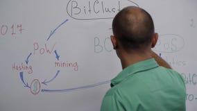 De kale kerel die groene t-shirt draagt schrijft brieven en omcirkelt hen op witte raad stock footage