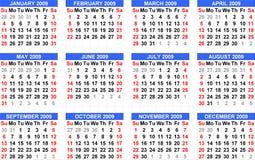 De kalender 2009, begint van Zondag en in blauw hoofd Royalty-vrije Stock Afbeeldingen