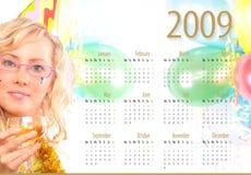 De kalender 2009 het nieuwe jaar met de blonde Royalty-vrije Stock Foto's