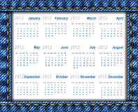De kalender 2012 van jeans Stock Afbeeldingen
