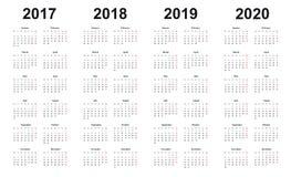 De kalender 2017, 2018, 2019, 2020, eenvoudig ontwerp, zondagen merkte rood stock illustratie