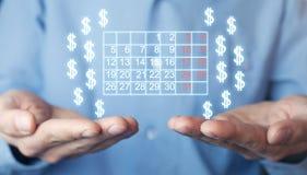 De kalender en de dollartekens van de mensenholding Stock Afbeeldingen