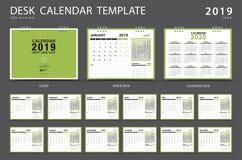 De kalender 2019, het malplaatje van de Bureaukalender, Reeks van 12 Maanden, Ontwerper, Week begint op Zondag, Kantoorbehoefteno stock illustratie