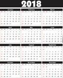 De kalender 2018 kan binnen in om het even welke grootte voor druk worden omgezet Royalty-vrije Stock Afbeelding