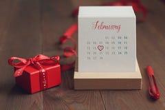 De kalender met nota genomen van op 14 Februari Stock Foto's