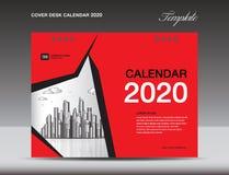 De Kalender 2020 Ontwerp van het dekkingsbureau, vliegermalplaatje, advertenties, boekje, catalogus, bulletin, boekdekking, jaarv stock illustratie