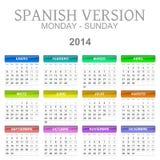 de kalender Spaanse versie van 2014 royalty-vrije illustratie