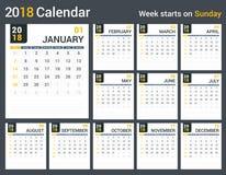 de kalender van 2018 Stock Fotografie