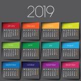 de kalender van 2019 vector illustratie