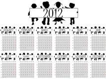 de kalender van 2012 met kinderen Stock Foto's