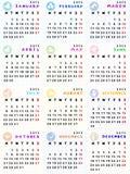 de kalender van 2013 met dierenriemtekens Stock Afbeeldingen