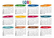 de kalender van 2013 - zondagen eerst Royalty-vrije Stock Foto's