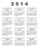de kalender van 2014 Stock Foto's