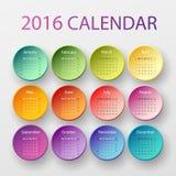 De kalender van 2016 Stock Afbeelding