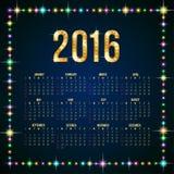 de kalender van 2016 Stock Fotografie