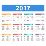 de kalender van 2017 Stock Fotografie