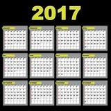 de kalender van 2017 Stock Foto's