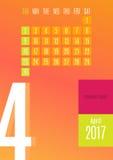 de kalender van 2017 Royalty-vrije Stock Foto's